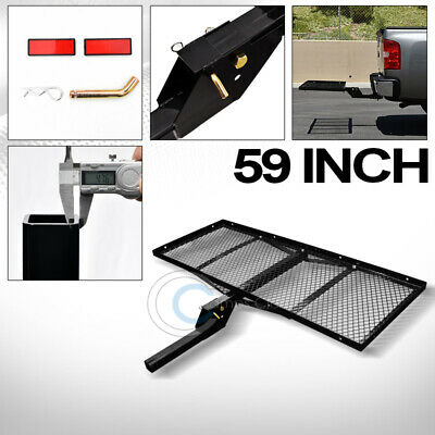 """59"""" Black Mesh Folding Trailer Hitch Cargo Carrier Rack Tray For 2"""" Receiver C08"""