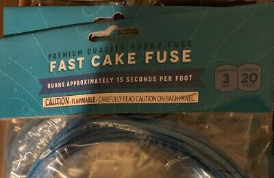 20' Fireworks Fast Cake Cannon Hobby Fuse Label 3 mm Blue 14.9 - 15.4  sec