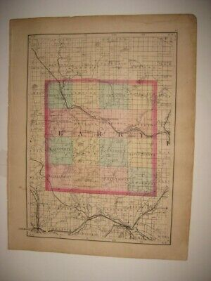 Vintage Antique 1873 Barry Eaton County Michigan Handcolored Map Superb Fine Nr