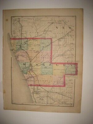 Vintage Antique 1873 Montcalm Muskegon County Michigan Handcolored Map Railroad
