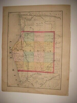 Vintage Antique 1873 Oceana Newaygo County Michigan Handcolored Map Railroad Nr