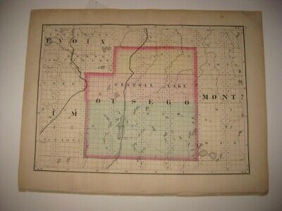 Vintage Antique 1873 Otsego Montmorency County Michigan Handcolored Map Superb