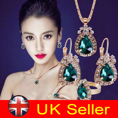 Elegant Women Zircon Pendant Necklace Earrings Set Crystal Wedding Jewelry Gift
