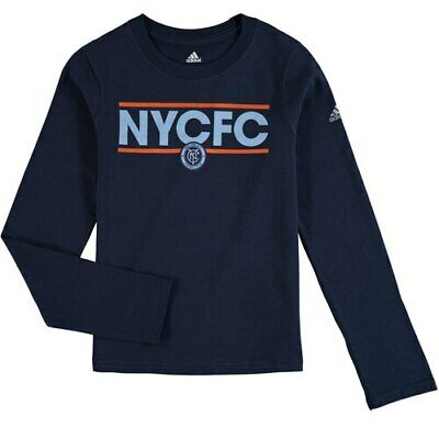 adidas New York City FC Girls Youth Navy Dassler Pattern Long Sleeve T-Shirt