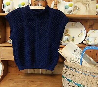 LOVELY HAND KNITTED VINTAGE ARAN JUMPER TANK TOP SLEEVELESS WW2 1940s STYLE S/M