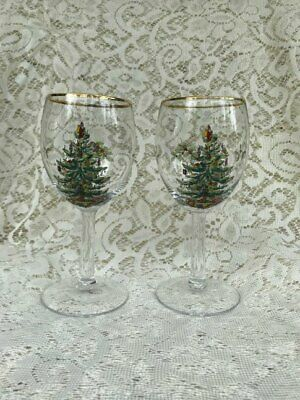 2 Spode Christmas Tree Wine Glasses or Water Goblets Free Shipping