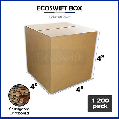"1-200 4x4x4 ""EcoSwift"" Cardboard Packing Mailing Shipping Corrugated Box Cartons"