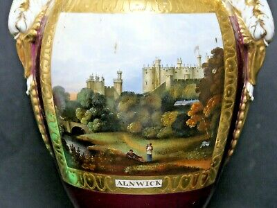 Very Fine Quality Vase Hand Painted Alnwick Castle - Derby Coalport Worcester ?