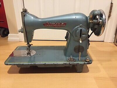 Antique Gimbels Super Deluxe 195 Sewing Machine Teal RARE Untested As Is