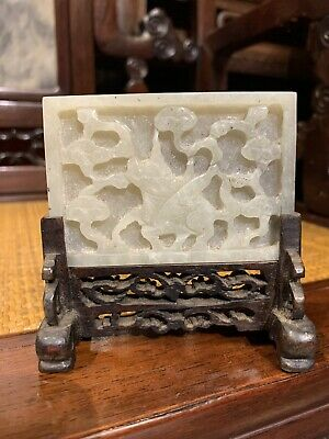 Chinese Antique  White jade plate Ming China Asian