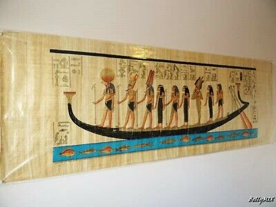 "XXXL Huge Signed Handmade Papyrus Egyptian Goddesses on Boat Painting 71""x 26"""