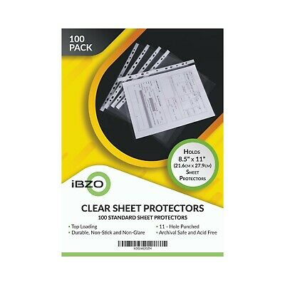 100 Clear Sheet Protectors 8.5 x 11 inches Binder Sleeves New