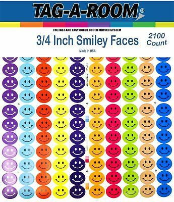 Tag-A-Room Happy Face Smiley Face Round 3/4 Inch Circle Dot Stickers, 10 ... New