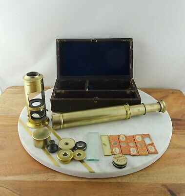 Antique Brass Microscope with Telescope Conversion Optical Compendium in Box