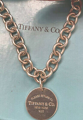 "Please Return To Tiffany & Co. Circle Round Tag Chain Necklace 18"" .925 W/ Pouch"