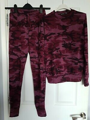 Boohoo Pink Army Print Track Suit Size 10.....new