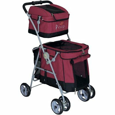 POUSSETTE CHIEN Pet Stroller Dog Duo with 2 ETAGES Buggy Red