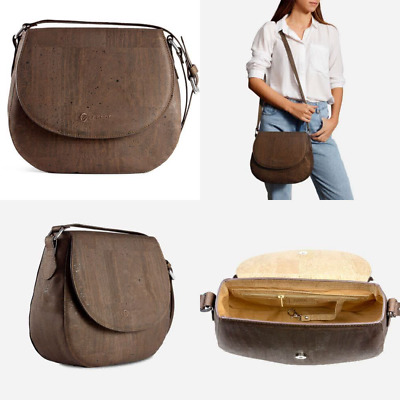 Corkor Saddle Bag Women Crossbody Non-Leather Vegan Vegetarian Cork Gift Brown C
