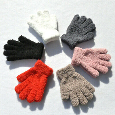 Soft Warm Boys Girls Kids Gloves Candy Color Full Fingers Coral Plush Mittens