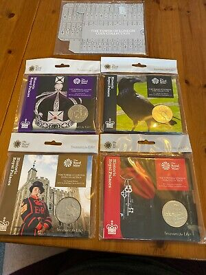 TOWER of LONDON £5 COINS FULL SET Plus ROYAL MINT Collectors Cover