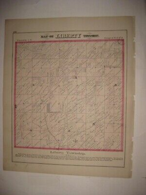 Antique 1872 Liberty Township Adams County Illinois Handcolored Map Superb Rare