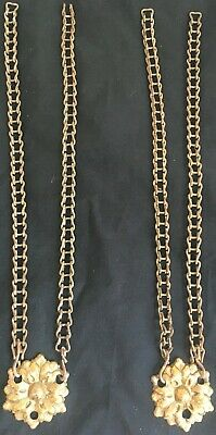 Antique Pair Ornate Brass Side Chain Separators Hanging Library Oil Lamp Fixture
