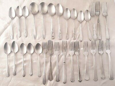 Antique to Vtg Silver Plated Fork Spoon 29 pc. Lot Mixed Makers 1800's to 1940s