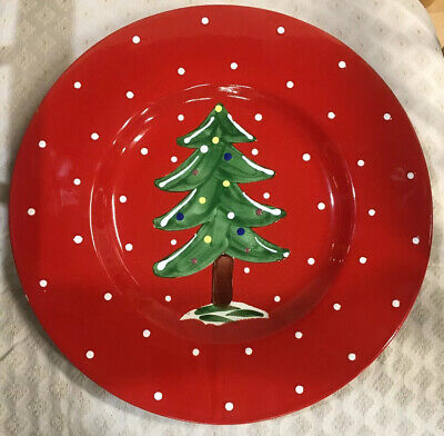 """CERAMICHE TOSCANE 14.5"""" Christmas Tree Red Platter Hand Painted Made in Italy"""