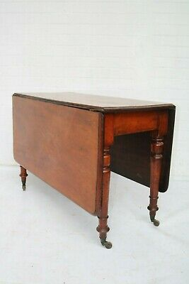 Antique Mahogany Victorian Folding Table On Castors Support Good Condition !!!