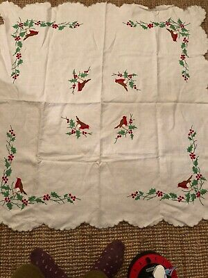 Vintage Hand Embroidered Christmas Tablecloth Robins = Holly = Berries