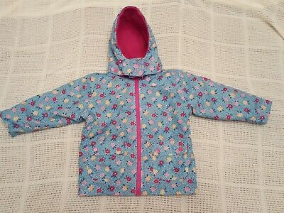 JoJo Maman Bebe Girls 4 In 1 Jacket/Coat Fleece lined Age 2-3yrs Pink & Blue VGC