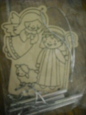 Wooden Christmas Wind Chimes To Paint Nativity Stocking Filler Angel & Shepherd