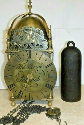 Tho. Moore Ipswich Brass Lantern Clock Top Bell One Weight Single Hand