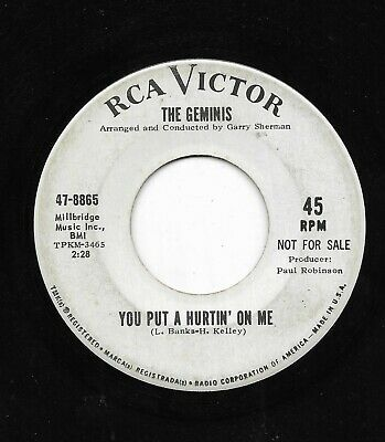 The Geminis 45Rpm '64 Rca Victor You Put The Hurtin' On Me Northern Promo Vg-