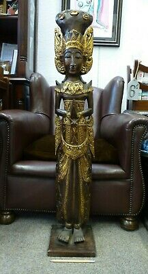 Large Tall wooden wood hand carved Temple figure statue figure sculpture Deity