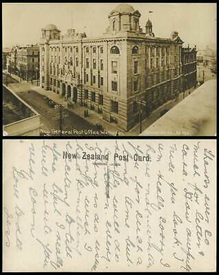 New Zealand Old Real Photo Postcard Wellington New General Post Office G.P.O GPO