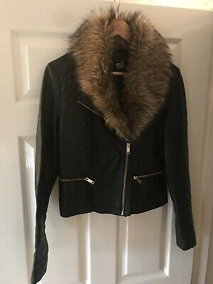 New Look 915 Black Faux Leather Jacket With Detatchable Fur Collar Age 14-15