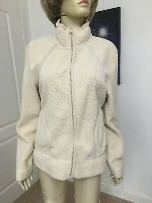 George Size 12/14 Beige Zip Up Warm Fluffy Jacket In Very Good Condition