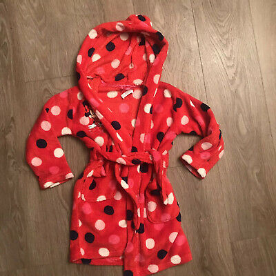 Age 5-6 Disney Minnie Mouse Towel Fluffy Dressing Gown Red Spotted Pink Hood