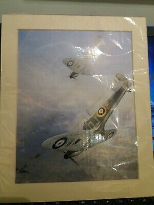 """Collectable Battle Of Britain Spitfire Aircraft Print """"Tally Ho"""" Ww2 Raf"""