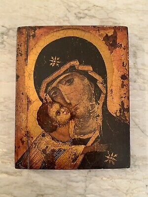 Antique Russian Wood Icon Madonna & Child