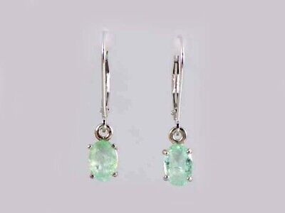 White Gold Emerald Earrings Antique 19thC Gem Siberian Ancient Immortality 14kt
