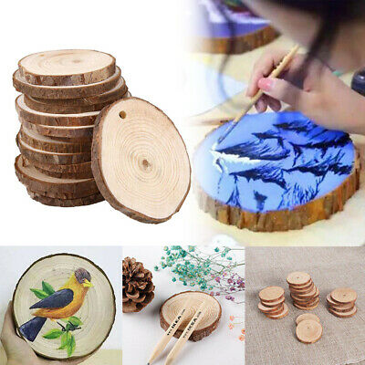 30/60/90/120X DIY Natural Wood Slices Round Log Discs Christmas Tree Ornament AN