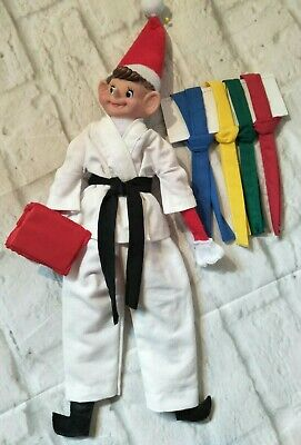 Elf On Shelf Doll Plus Christmas Clothes  Outfit Karate  Set Belts Punch Bag