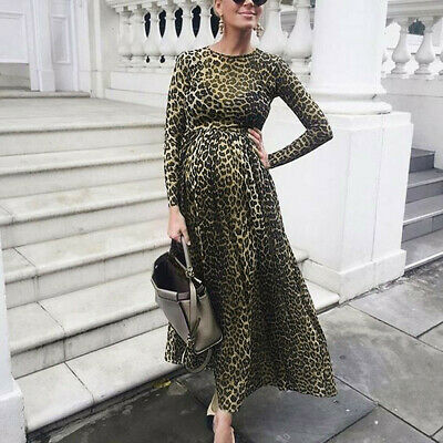 Women Pregnants Maternity Photography Props Long Sleeve Print Leopard  Dress