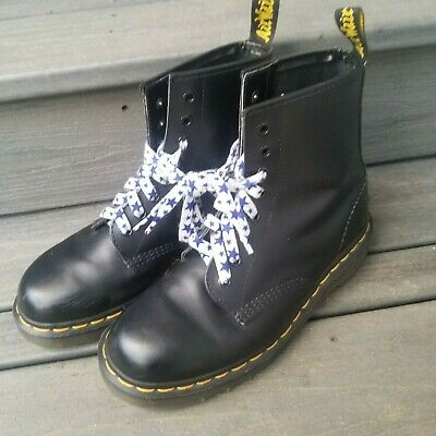 Dr Martens Black Leather Lace Up Boots Us Size 7 Made In England