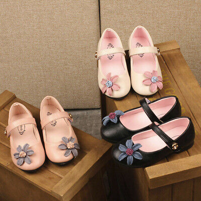 Toddler Infant Children Kids Girls Solid Floral Princess Leather Casual Shoes