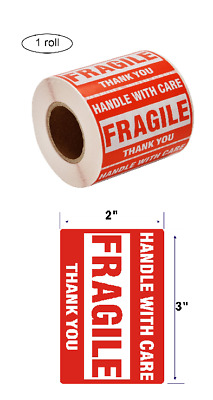 "[1 Roll, 500 Labels] 2"" x 3""   Fragile Stickers Handle with Care Warning Packing"