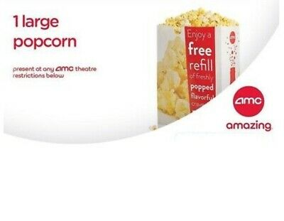 AMC: 1 Large Popcorn, Expires 6/30/2020, Fast E-Delivery, $3.50