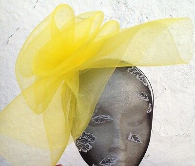 yellow fascinator millinery burlesque wedding hat ascot race bridal party hair